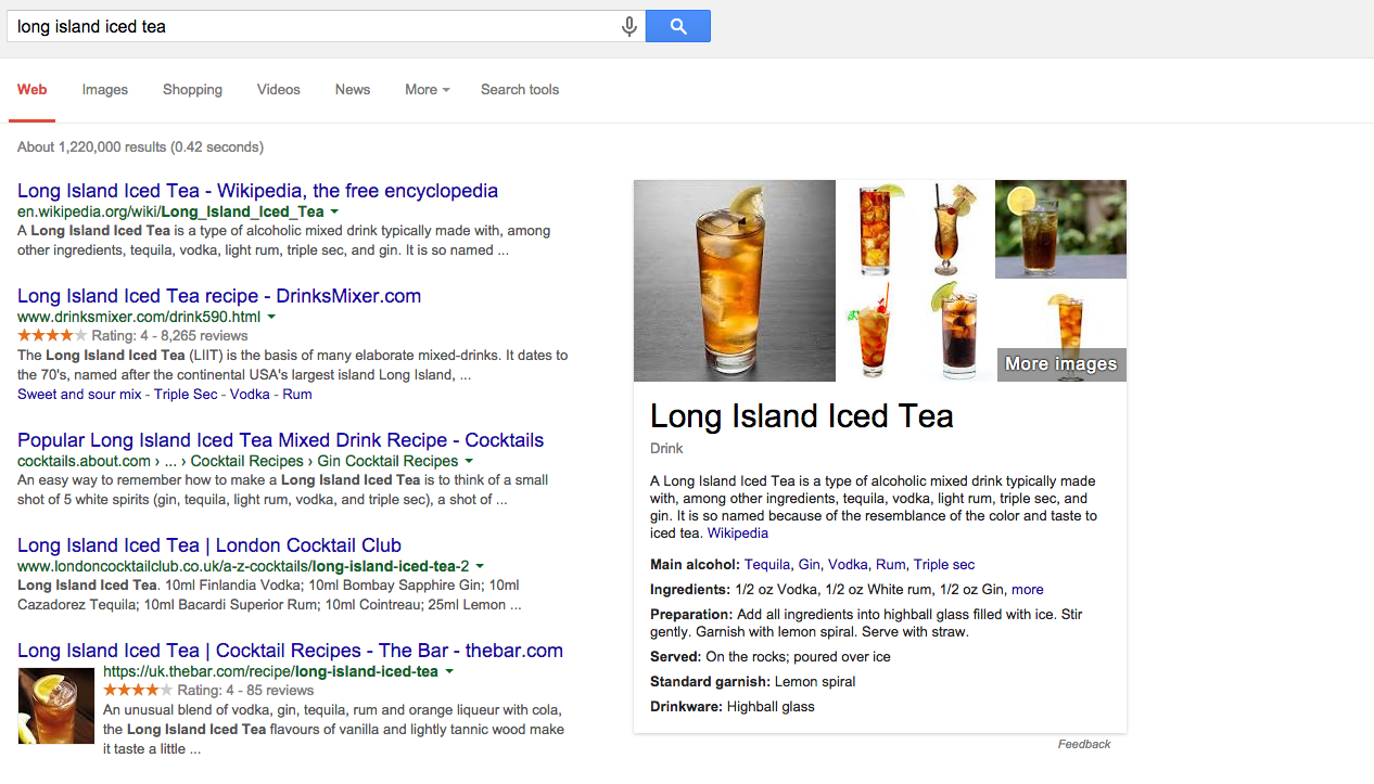search results cards for cocktails - the long island iced tea